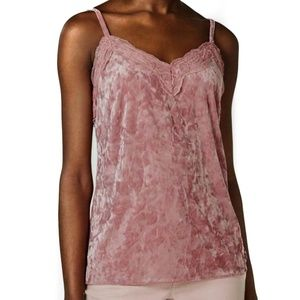 INC Velvet & Lace Camisole Top Rose Pink Stretch